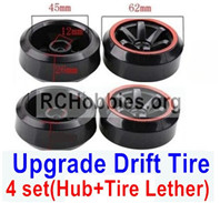 Subotech BG1520 Upgrade Plastic Drift Tire(4 set)-Plastic Wheel hub+Tire