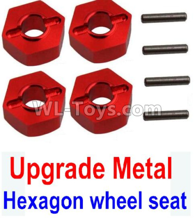 Wltoys 10428-B2 RC Car Upgrade Metal 12MM Hexagon wheel Seat Parts,Tire adapter(4pcs)-Red,Wltoys 10428-B2 Parts