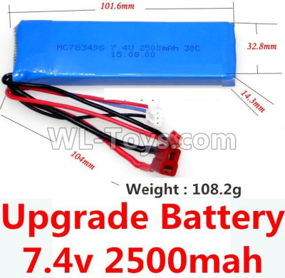 Wltoys 10428-B2 RC Car Upgrade Battery-7.4v 2500mah 25C battery with T-shape plug(Size-101.6X32.8X14.3MM)-(Weight-106.3g),Wltoys 10428-B2 Parts