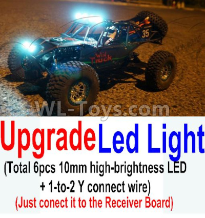 Wltoys 10428-B2 RC Car Upgrade LED light unit(Total 6pcs Light and 1pcs 1-TO-2 Y-shape connect wire),Wltoys 10428-B2 Parts