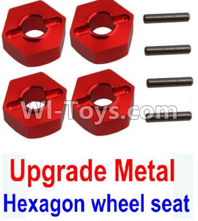 Wltoys 10428-A Car Upgrade Parts-Upgrade Metal 12MM Hexagon wheel seat,Tire adapter(4pcs)-Red,Wltoys 10428-A Mods