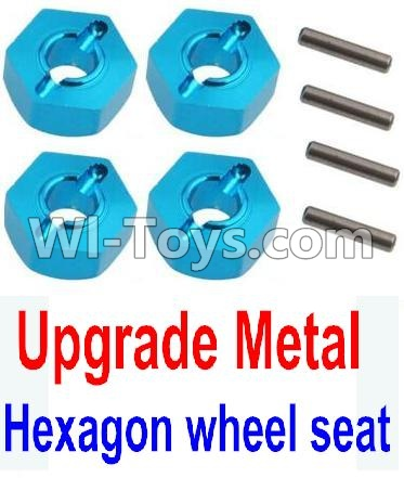 Wltoys 10428-A Car Upgrade Parts-Upgrade Metal 12MM Hexagon wheel seat,Tire adapter(4pcs)-Light Blue,High speed 1:10 Scale 4wd PARTS