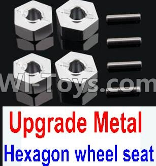 Wltoys 10428-A Car Upgrade Parts-Upgrade Metal 12MM Hexagon wheel seat,Tire adapter(4pcs)-Silver,Wltoys 10428-A Mods