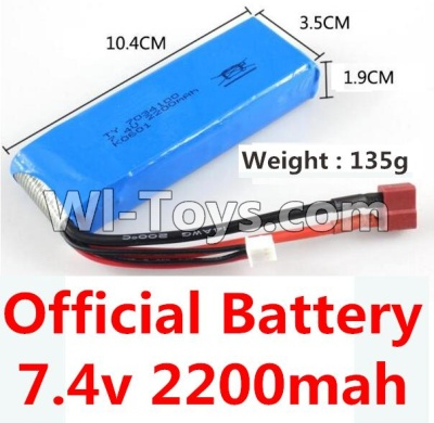 Wltoys 10428-A Car Parts-Battery Parts-7.4v 2200mah battery with T-shape plug(Size-10.4X3.5X1.9CM)-(Weight-135g),Wltoys 10428-A Parts