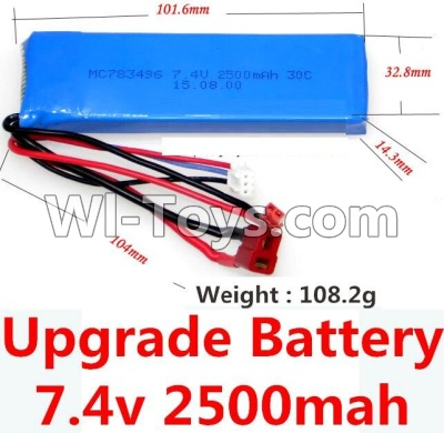 Wltoys 10428-A Car Upgrade Parts-Upgrade 7.4v 2500mah 25C battery with T-shape plug(Size-101.6X32.8X14.3MM)-(Weight-106.3g),Wltoys 10428-A Parts