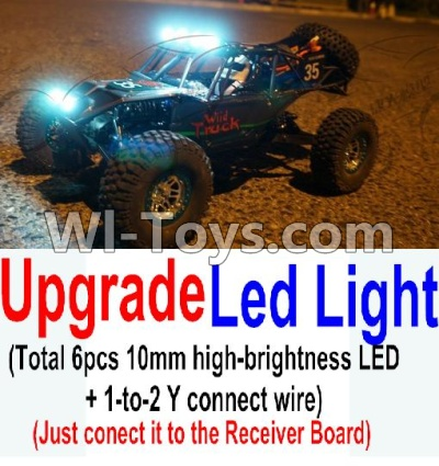 Wltoys 10428-A Car Upgrade Parts-Upgrade LED light unit(Total 6pcs Light and 1pcs 1-TO-2 Y-shape connect wire),Wltoys 10428-A Parts