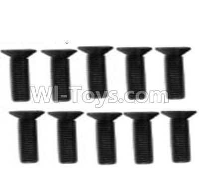 Wltoys 10428-B RC Car Parts-A929-61 Countersunk head inner hexagon Screws Parts-M3X12-Black zinc plated(10PCS),High speed 1:10 Scale 4wd Racing Truck Car Parts