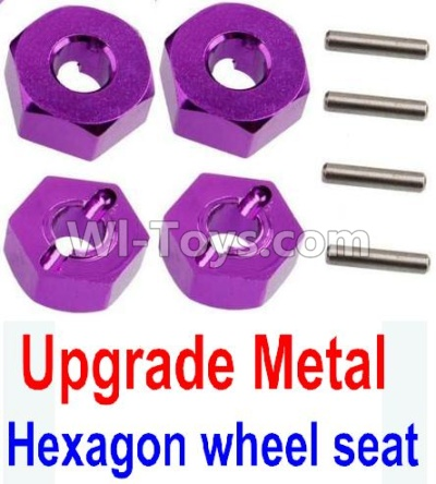 Wltoys 10428-B Upgrade Parts-Upgrade Metal 12MM Hexagon wheel seat Parts,Tire adapter(4pcs)-Purple,Wltoys 10428-B Parts