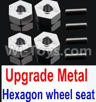 Wltoys 10428-B Upgrade Parts-Upgrade Metal 12MM Hexagon wheel seat Parts,Tire adapter(4pcs)-Silver,Wltoys 10428-B Parts