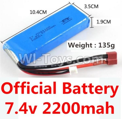 Wltoys 10428-B RC Car Battery Parts-7.4v 2200mah battery with T-shape plug(Size-10.4X3.5X1.9CM)-(Weight-135g),Wltoys 10428-B Parts