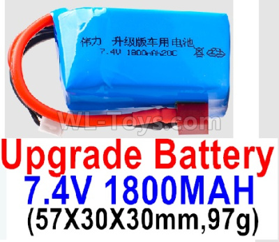 Wltoys 124012 RC Car Upgrade Battery-7.4V 1800mah 20C Battery with Red T Plug(1pcs)-(57X30X30mm,97g),1/12 Wltoys 124012 Parts