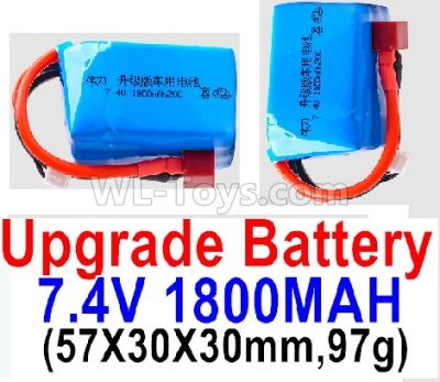 Wltoys 124012 RC Car Upgrade Battery-7.4V 1800mah 20C Battery with Red T Plug(2pcs)-(57X30X30mm,97g),1/12 Wltoys 124012 Parts