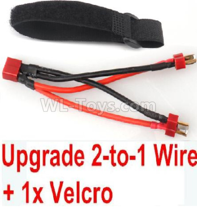 Wltoys 124012 RC Car Upgrade 2-to-1 wire and Velcro-Two battery can use together,Run 2x Time than usual,1/12 Wltoys 124012 Parts