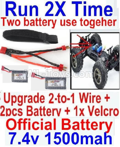 Wltoys 124012 RC Car Upgrade 2-to-1 wire and Velcro & 2pcs 1500MAH Battery-Two battery can Be used together,Run 2x Time than usual,1/12 Wltoys 124012 Parts