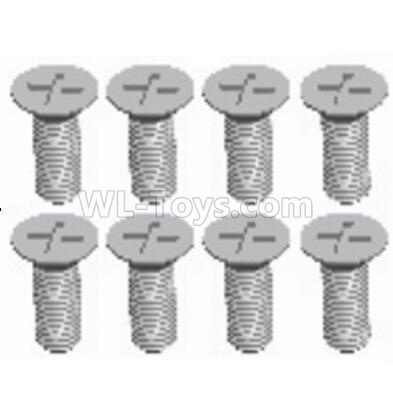 Wltoys 124012 RC Car Parts-Cross recessed Flat head screws Parts(8PCS)-M3X8 KM-12428.0117,1/12 Wltoys 124012 Parts
