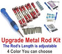 Wltoys 124016 Upgrade Metal Rod Assembly Kit Parts. 4 color you can choose. It Includes 7pcs Rod + Screws drivers + screws