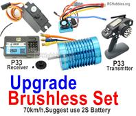 Wltoys 124017 Brushless Set Parts. Upgrade Brushless motor + ESC+ Motor gear + Receiver + Transmitter-70km/h