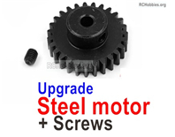 Wltoys 124016 Upgrade Parts Steel Motor Gear with Set Screws. Steel material is harder and more wear-resistant.
