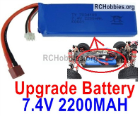 Wltoys 124019 Upgrade Battery Packs Parts. 7.4V 2200mah 25C LiPO Battery. 1pcs. 100X33X15mm, 115.5g