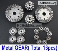 Wltoys 124019 Whole Metal Kit Parts. Metal gear, total 16pcs.