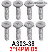 Wltoys 124019 Screws Parts A303-38 Screws. 3x14PM D5.