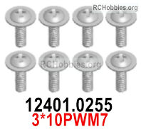 Wltoys 124019 Screws Parts 12401.0255 Screws. 3x10PWM7.
