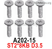 Wltoys 124019 Screws Parts A202-15 Screws. ST2x8KB D3.5.