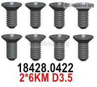 Wltoys 124019 Screws Parts 18428.0422 Screws. 2x6KM D3.5.