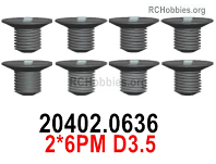 Wltoys 124019 Screws Parts 20402.0636 Screws. 2x6PM D3.5.