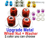 Wltoys 124019 Upgrade Metal Nut Parts for the Wheel + Washer-4 set-5 Colors you can choose.