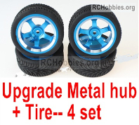 Wltoys 124019 Upgrade Metal wheel hub + Tire Parts. Total 4 set.