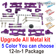 Wltoys 124019 Upgrade ALL Metal Kit A Parts. ALL 12-In-1 Package. 5 Colors you can choose.