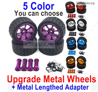 Wltoys 124018 Upgrade Metal Wheels Tires Parts + Upgrade Metal Lengthed 24mm Hex wheel seat. Run More stable and more resistant to falls.