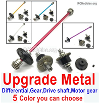 Wltoys 124018 Upgrade Metal Steel Differential unit Parts + Steel Reduction gear Gear + Metal drive shaft + Steel Motor Gear.