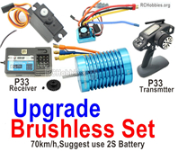 Wltoys 124019 Brushless Set Parts. Upgrade Brushless motor + ESC+ Motor gear + Receiver + Transmitter-70km/h