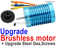 Wltoys 124019 Upgrade Brushless Motor Parts + Steel Motor Gear. Steel material is harder and more wear-resistant.