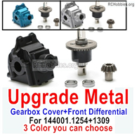 Wltoys 124018 Upgrade Metal Gearbox Cover + Front Steel Differential unit Parts + Bearings + Bevel gear. 124018.1254 + 124018.1309 .