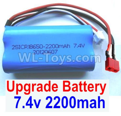 Wltoys 12409 RC Car Upgrade Battery Parts-7.4v 2200mah battery with T-shape plug(1pcs)-Size-65X38X18mm,Wltoys 12409 Parts
