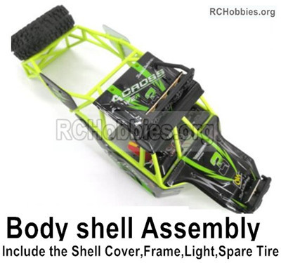 Wltoys 12428 Body shell assembly Parts. Include the All Roll cage,Shell cover,Light,Spare Tires