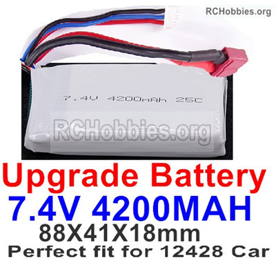 Wltoys 12428 Upgrade Battery Parts. Upgrade 7.4V 4200mah Batteries.The size is 88X41X18mm