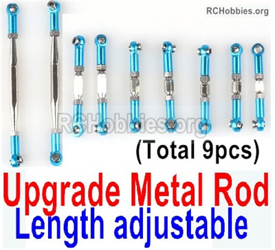 Wltoys 12427 Upgrade Metal Rod Parts. The Rods'length is adjustable. Total 9pcs. Blue Color