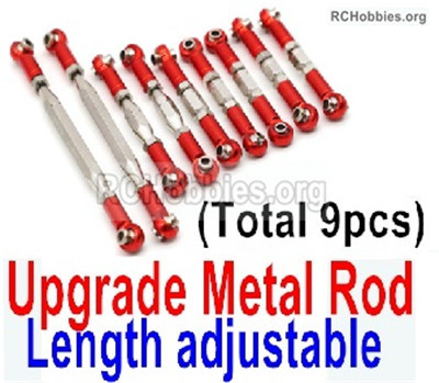 Wltoys 12428 Upgrade Metal Rod Parts. The Rods'length is adjustable. Total 9pcs. Red Color