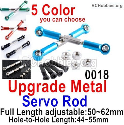 Wltoys 12427 Upgrade Metal Servo Rod Parts. Total 2pcs with screws. 12427-0018,5 color you can choose.The Length is adjustable,50-62mm.hole