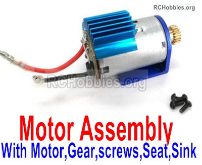 Wltoys 12428 Motor assembly Parts, It include the Motor,Motor Gear,Screws,Motor seat,Motor sink