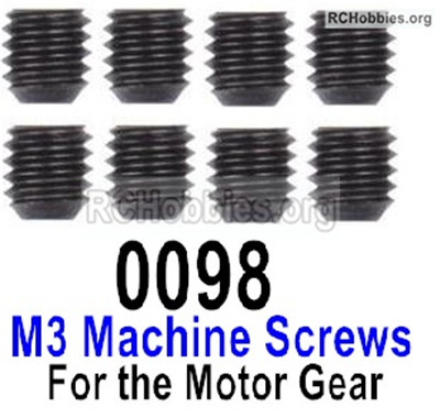 Wltoys 12428 M3x3 Set Screws Parts. Total 8pcs. 12428-0098