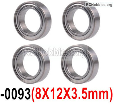 Wltoys 12427 Bearing Parts. 8X12X3.5mm. 12427-0093,Total 4pcs