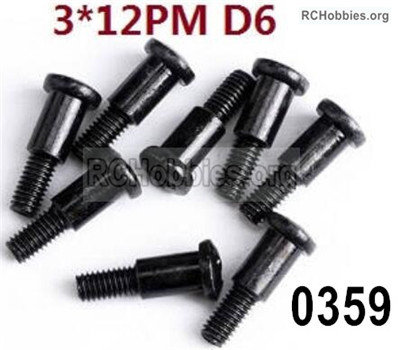 Wltoys 12427 Screws Parts. 12427-0359 Step Screws-. Total 8pcs.-3X12 PM D6