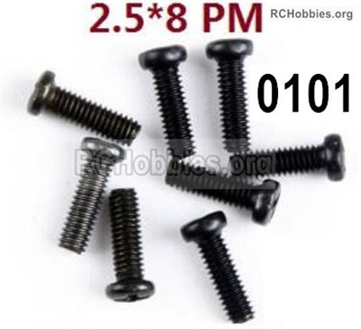 Wltoys 12427 Screws Parts. 12427-0101, M2.5X8 PM,Cross recessed pan head screws. Total 8pcs.