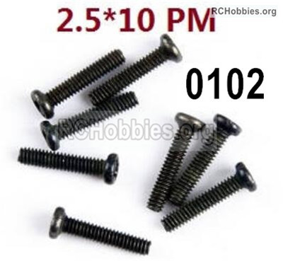 Wltoys 12427 Screws Parts. 12427-00102. M2.5X10 PM-Cross recessed pan head screws. Total 8pcs.