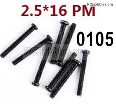 Wltoys 12427 Screws Parts. 12427-00105. M2.5X16 PM,Cross recessed pan head screws. Total 8pcs.